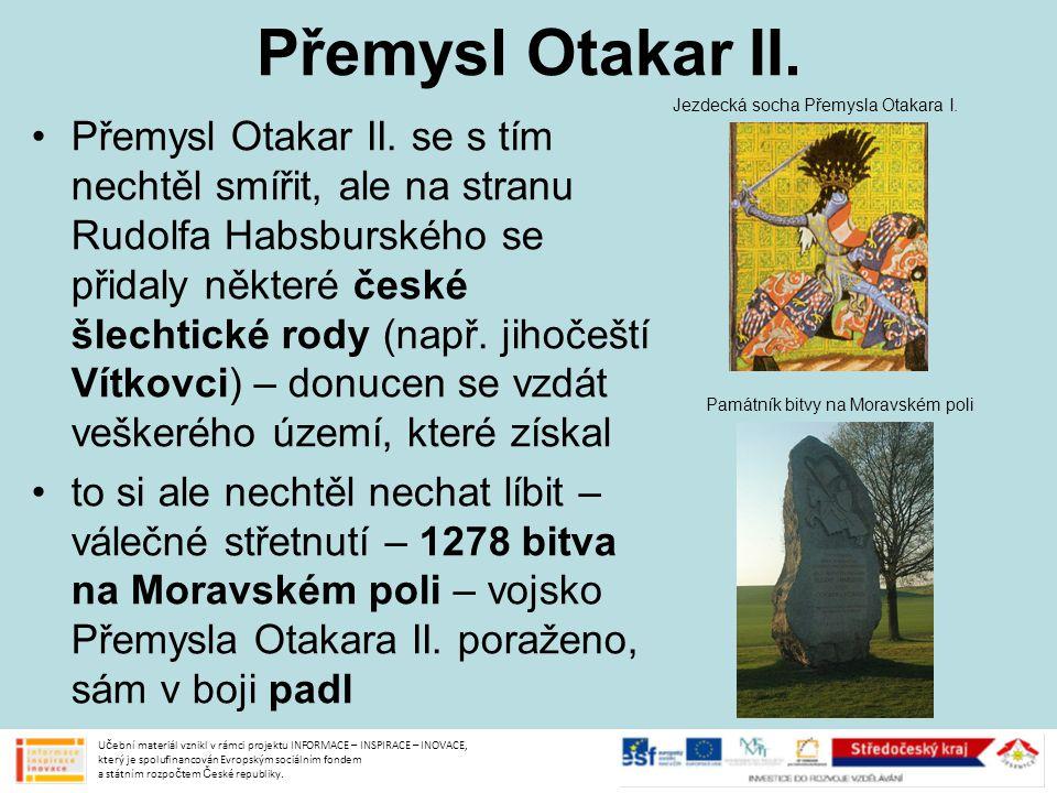 Přemysl Otakar II. Jezdecká socha Přemysla Otakara I.