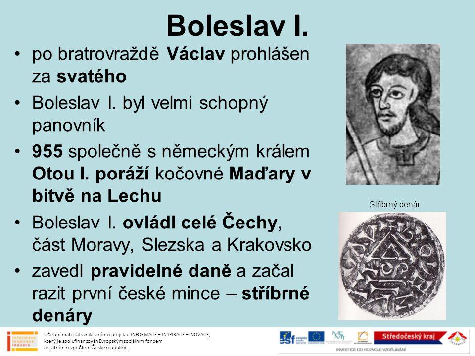 Boleslav I. po bratrovraždě Václav prohlášen za svatého
