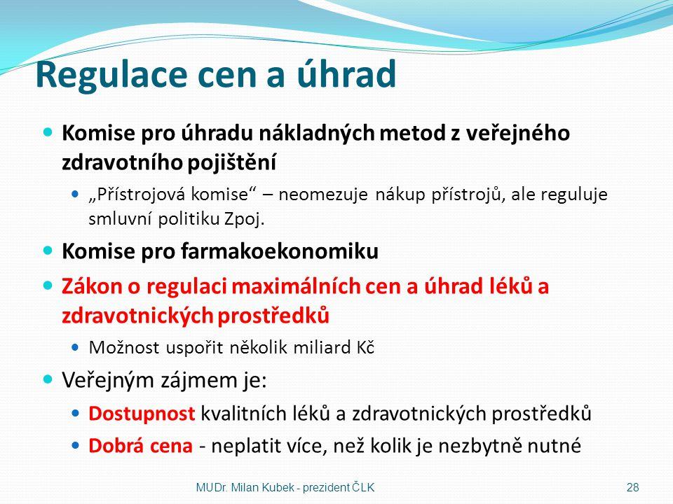 Regulace cen a úhrad Komise pro úhradu nákladných metod z veřejného zdravotního pojištění.