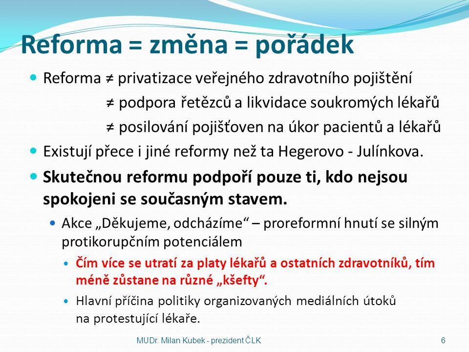 Reforma = změna = pořádek