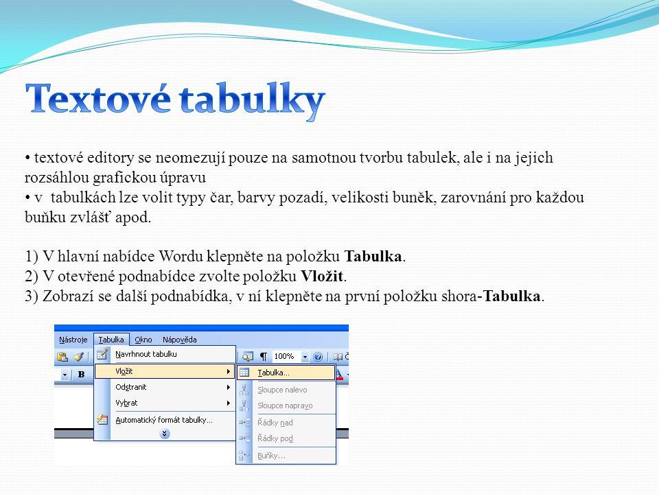 Textové tabulky textové editory se neomezují pouze na samotnou tvorbu tabulek, ale i na jejich rozsáhlou grafickou úpravu.