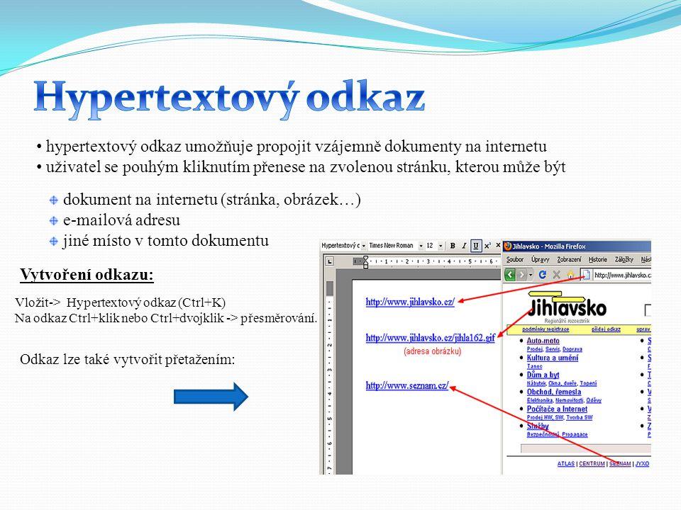 Hypertextový odkaz hypertextový odkaz umožňuje propojit vzájemně dokumenty na internetu.