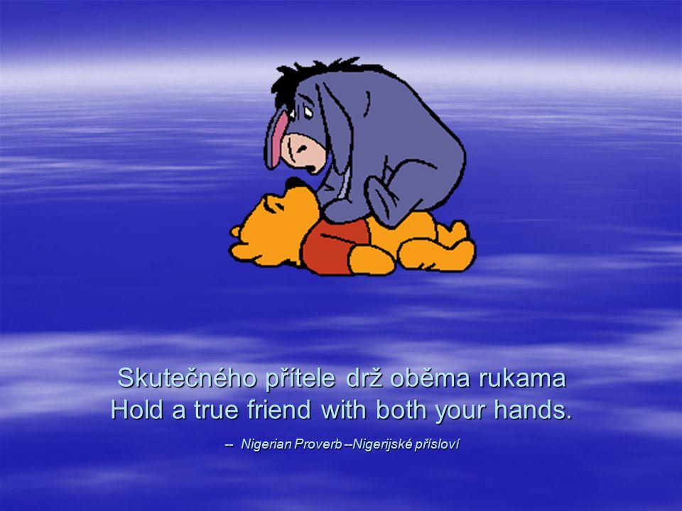 Skutečného přítele drž oběma rukama Hold a true friend with both your hands.