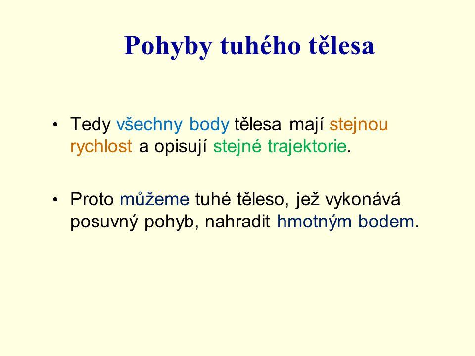 Pohyby tuhého tělesa Tedy všechny body tělesa mají stejnou rychlost a opisují stejné trajektorie.