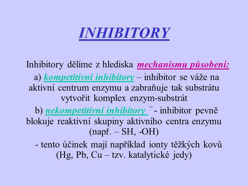 Inhibitory dělíme z hlediska mechanismu působení: