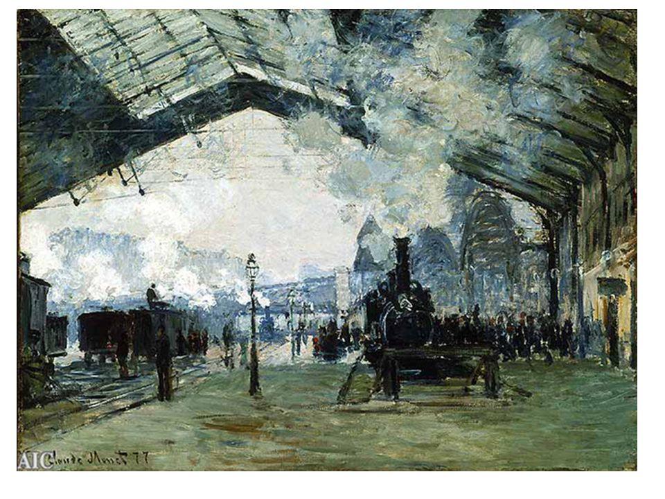 Nádraží St. Lazare (1877) koncem r. 1876 pracuje v Paříži na využití efektu mlhy. pára má podobný efekt.