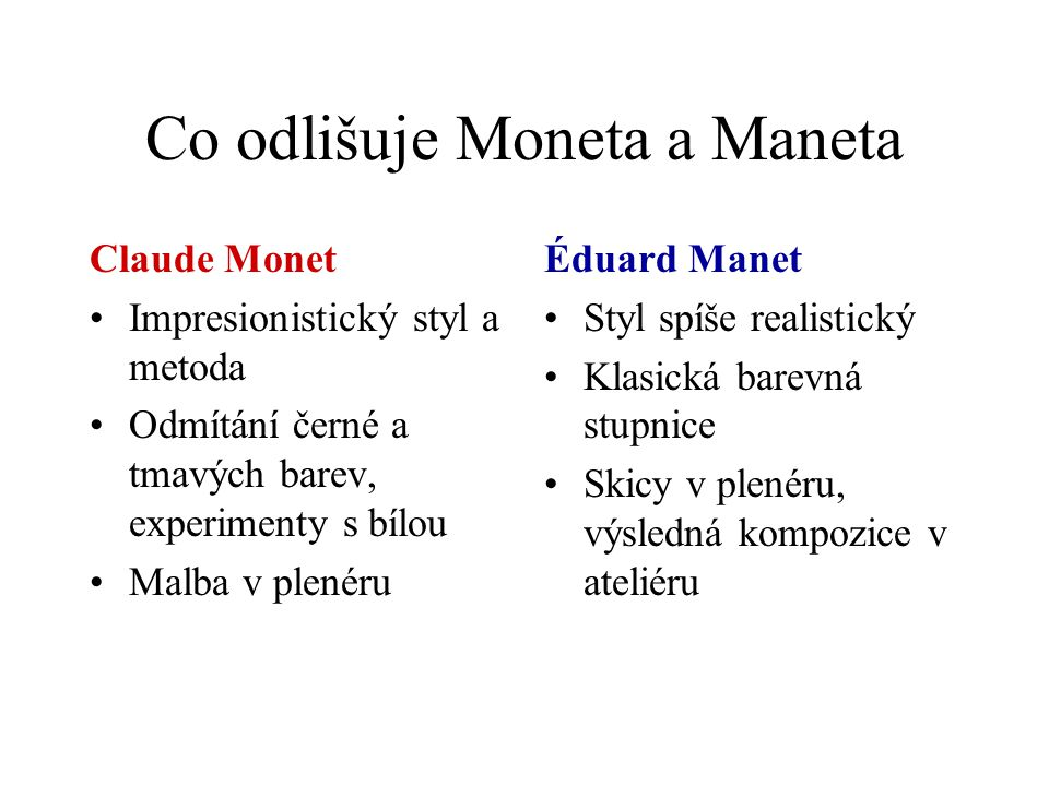 Co odlišuje Moneta a Maneta