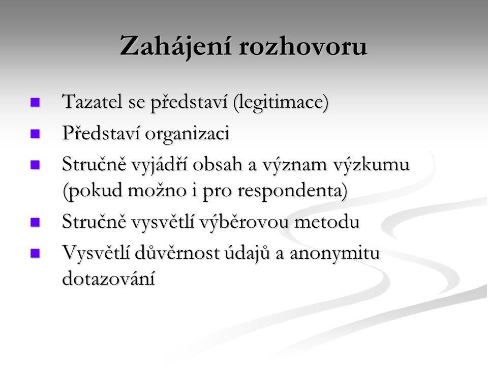 Zahájení rozhovoru Tazatel se představí (legitimace)
