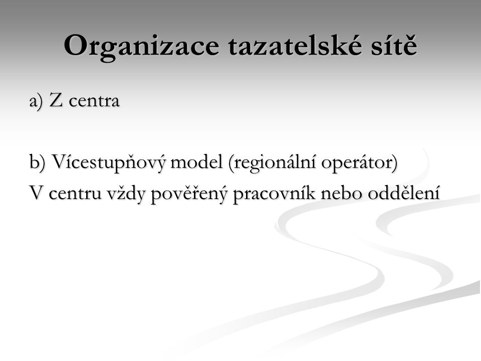 Organizace tazatelské sítě