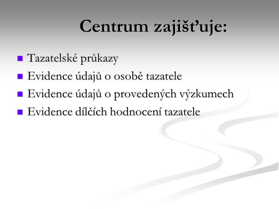 Centrum zajišťuje: Tazatelské průkazy Evidence údajů o osobě tazatele