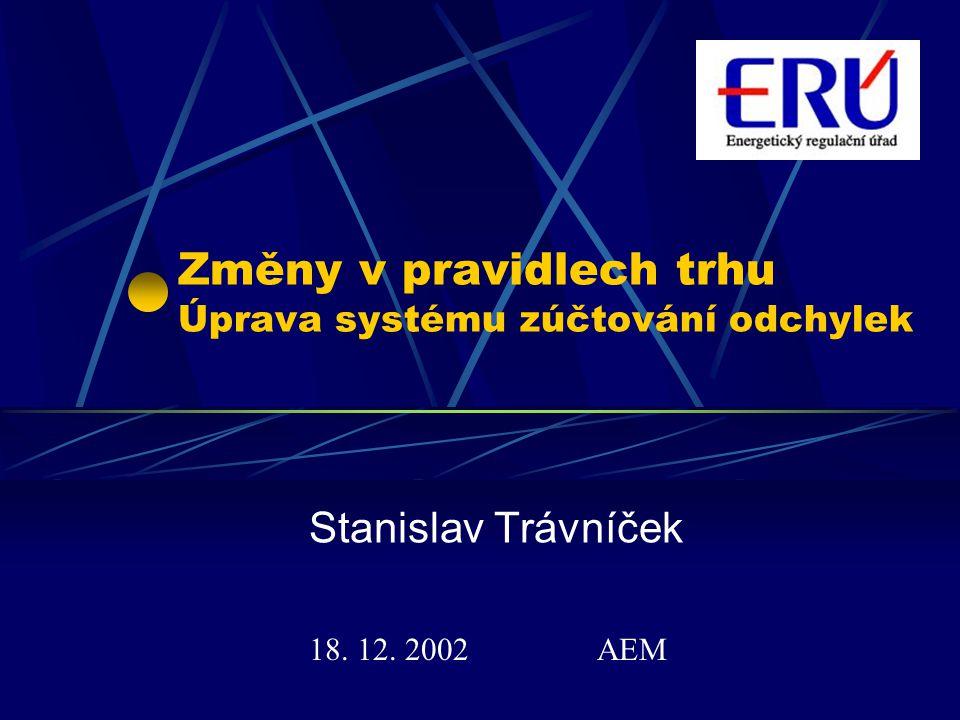 Změny v pravidlech trhu Úprava systému zúčtování odchylek
