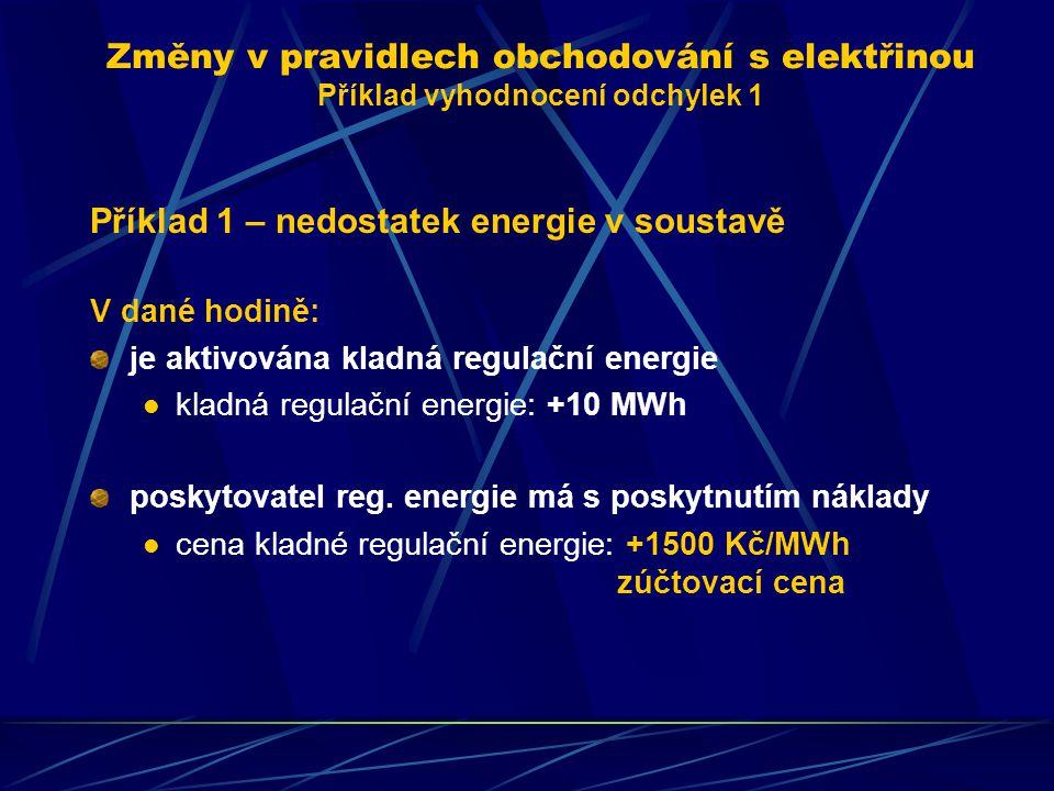 Příklad 1 – nedostatek energie v soustavě