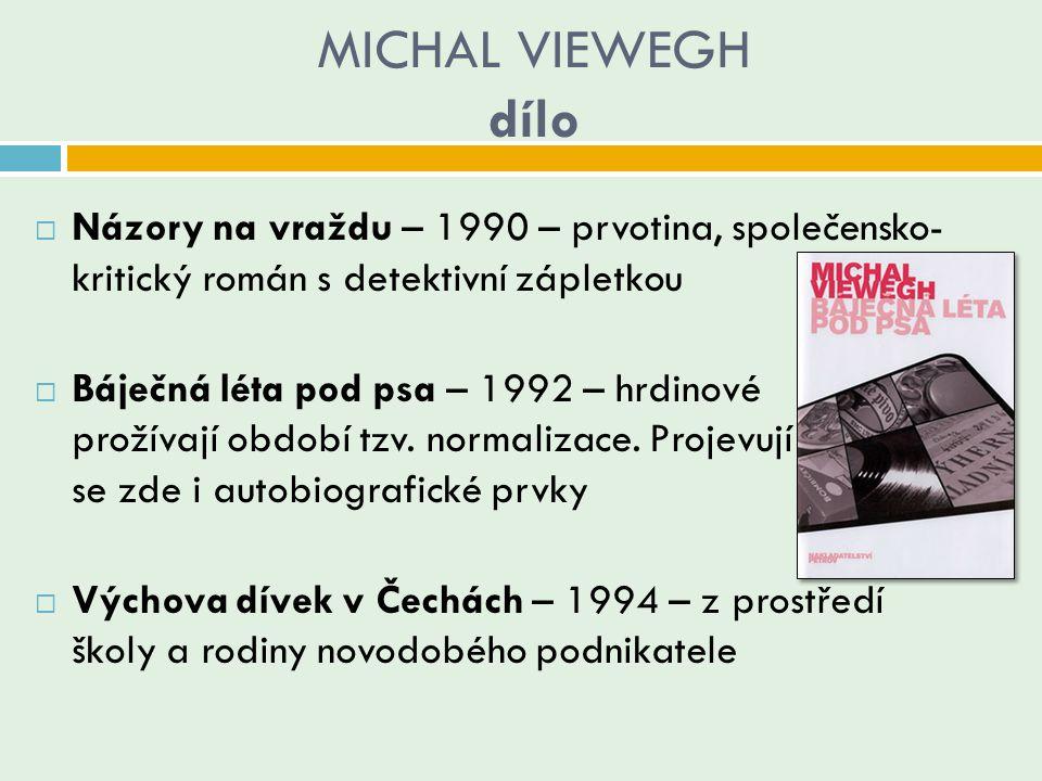 MICHAL VIEWEGH dílo Názory na vraždu – 1990 – prvotina, společensko- kritický román s detektivní zápletkou.