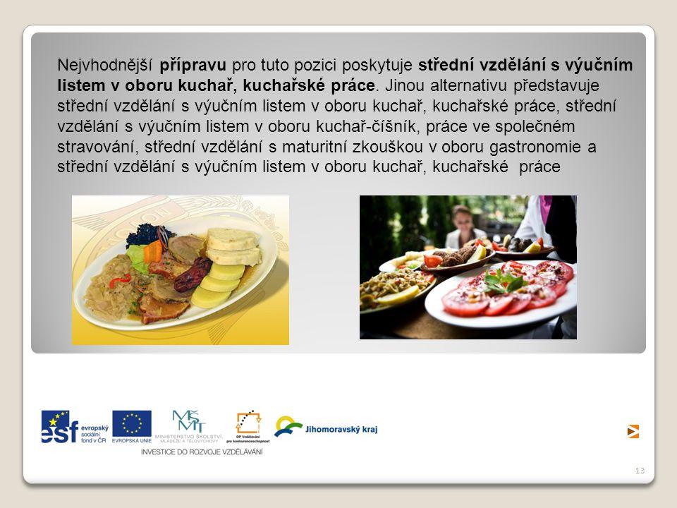Nejvhodnější přípravu pro tuto pozici poskytuje střední vzdělání s výučním listem v oboru kuchař, kuchařské práce.