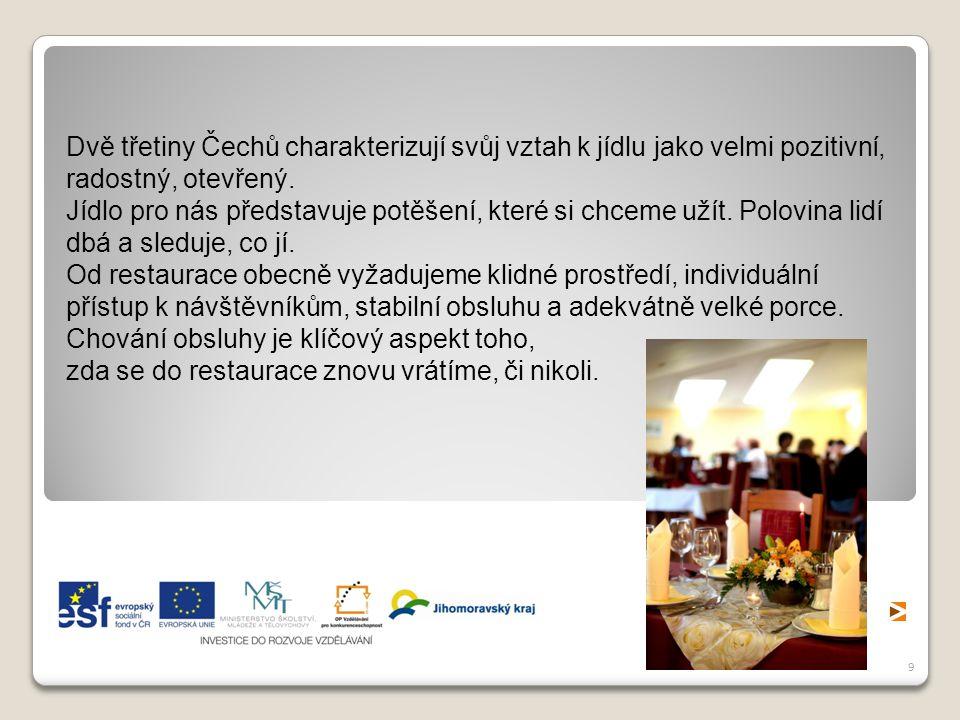 Dvě třetiny Čechů charakterizují svůj vztah k jídlu jako velmi pozitivní, radostný, otevřený.
