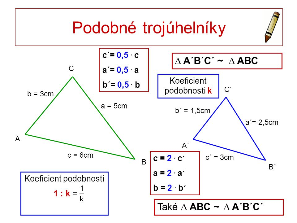 Podobné trojúhelníky ∆ A´B´C´ ~ ∆ ABC Také ∆ ABC ~ ∆ A´B´C´