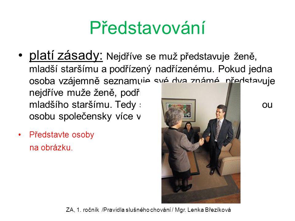 ZA, 1. ročník /Pravidla slušného chování / Mgr. Lenka Březíková