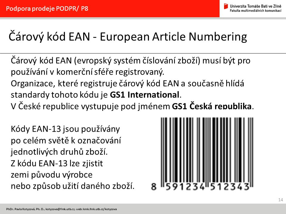 Čárový kód EAN - European Article Numbering