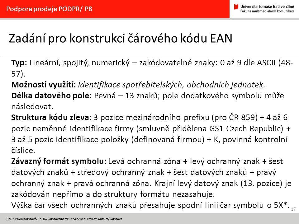 Zadání pro konstrukci čárového kódu EAN