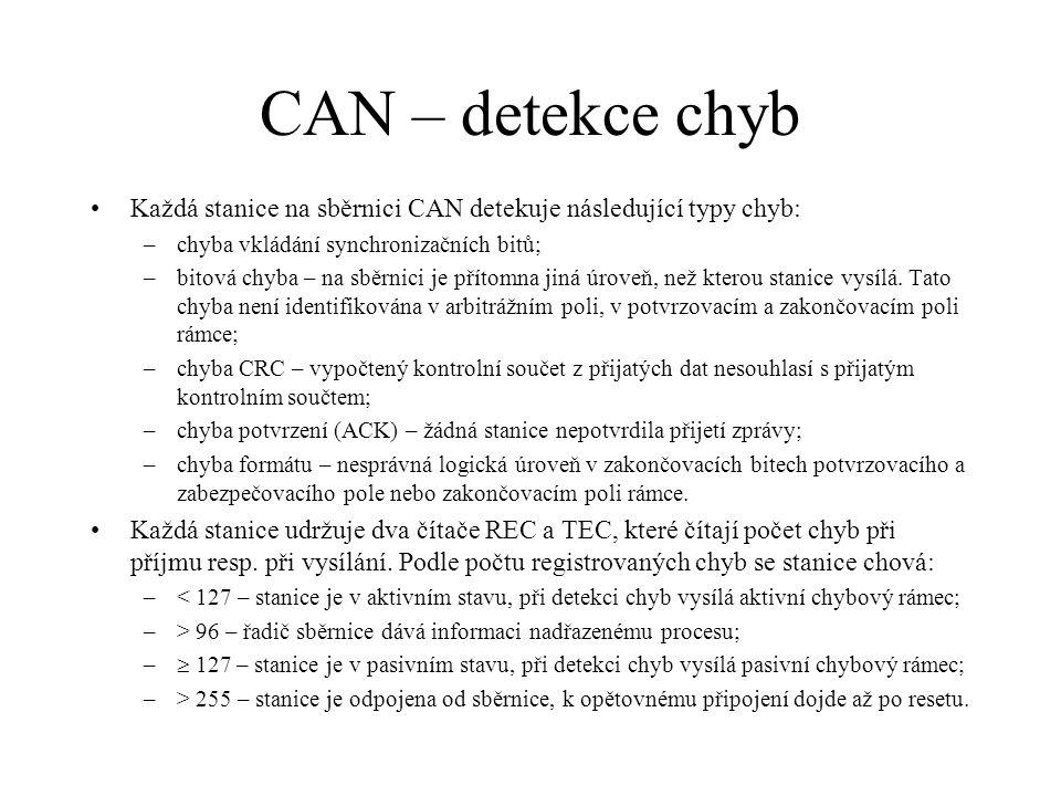 CAN – detekce chyb Každá stanice na sběrnici CAN detekuje následující typy chyb: chyba vkládání synchronizačních bitů;