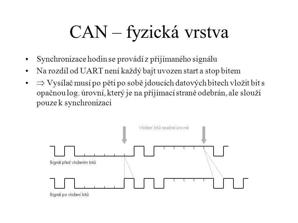 CAN – fyzická vrstva Synchronizace hodin se provádí z přijímaného signálu. Na rozdíl od UART není každý bajt uvozen start a stop bitem.