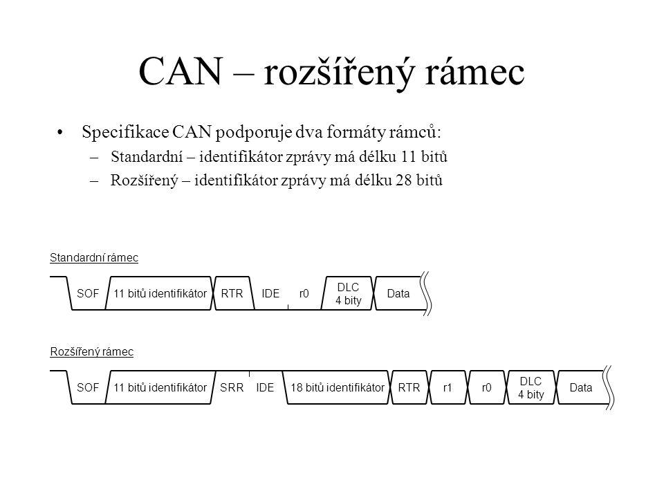 CAN – rozšířený rámec Specifikace CAN podporuje dva formáty rámců: