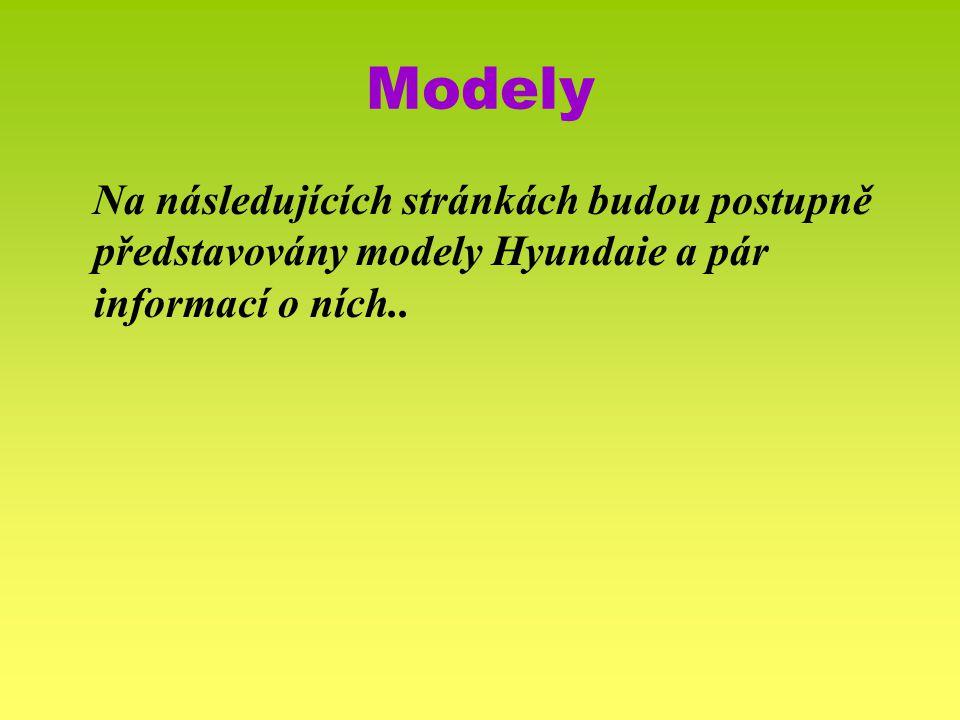 Modely Na následujících stránkách budou postupně představovány modely Hyundaie a pár informací o ních..