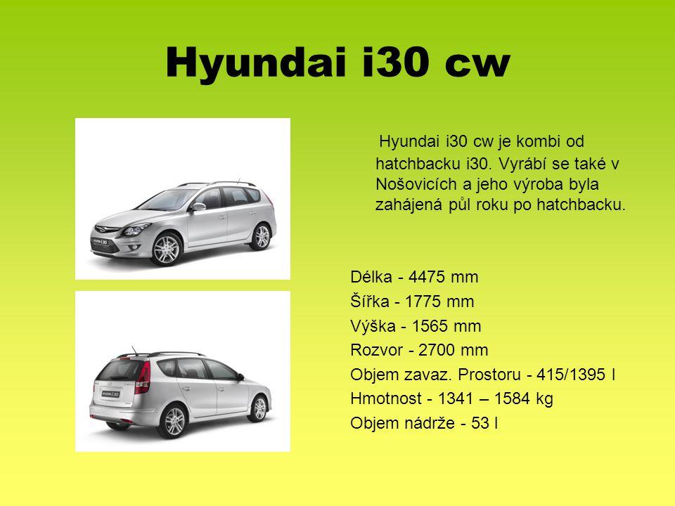 Hyundai i30 cw Hyundai i30 cw je kombi od hatchbacku i30. Vyrábí se také v Nošovicích a jeho výroba byla zahájená půl roku po hatchbacku.