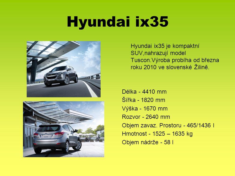 Hyundai ix35 Délka - 4410 mm Šířka - 1820 mm Výška - 1670 mm