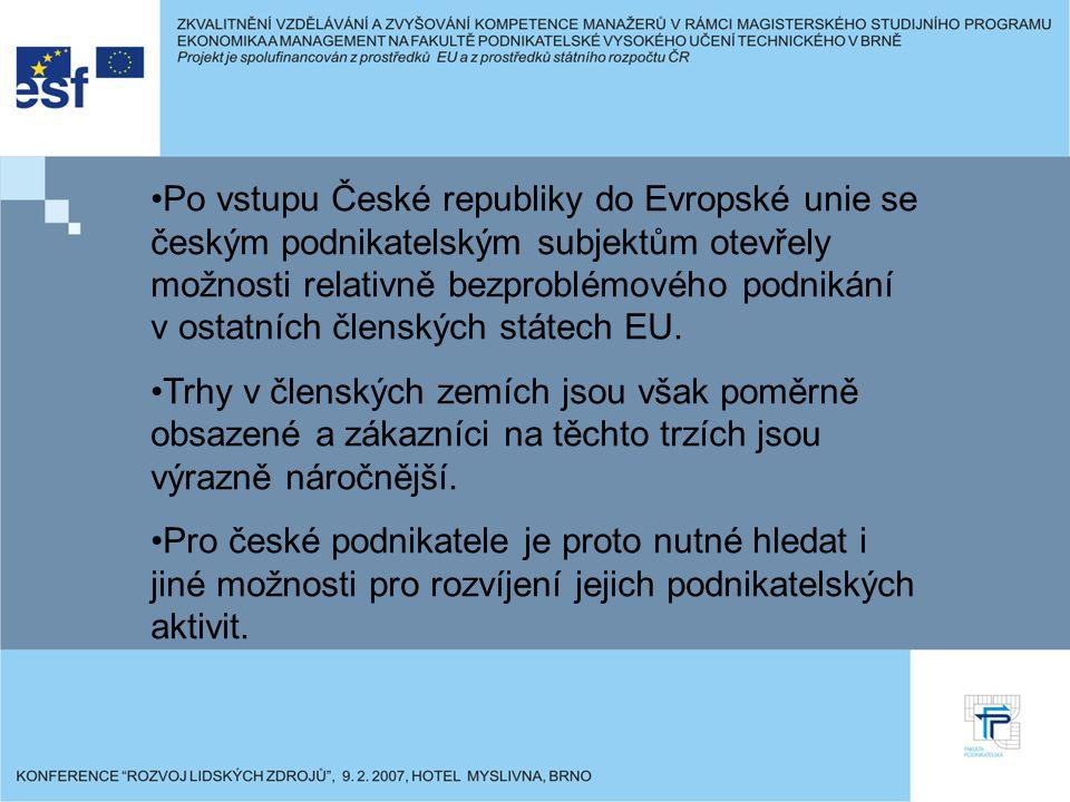 Po vstupu České republiky do Evropské unie se českým podnikatelským subjektům otevřely možnosti relativně bezproblémového podnikání v ostatních členských státech EU.