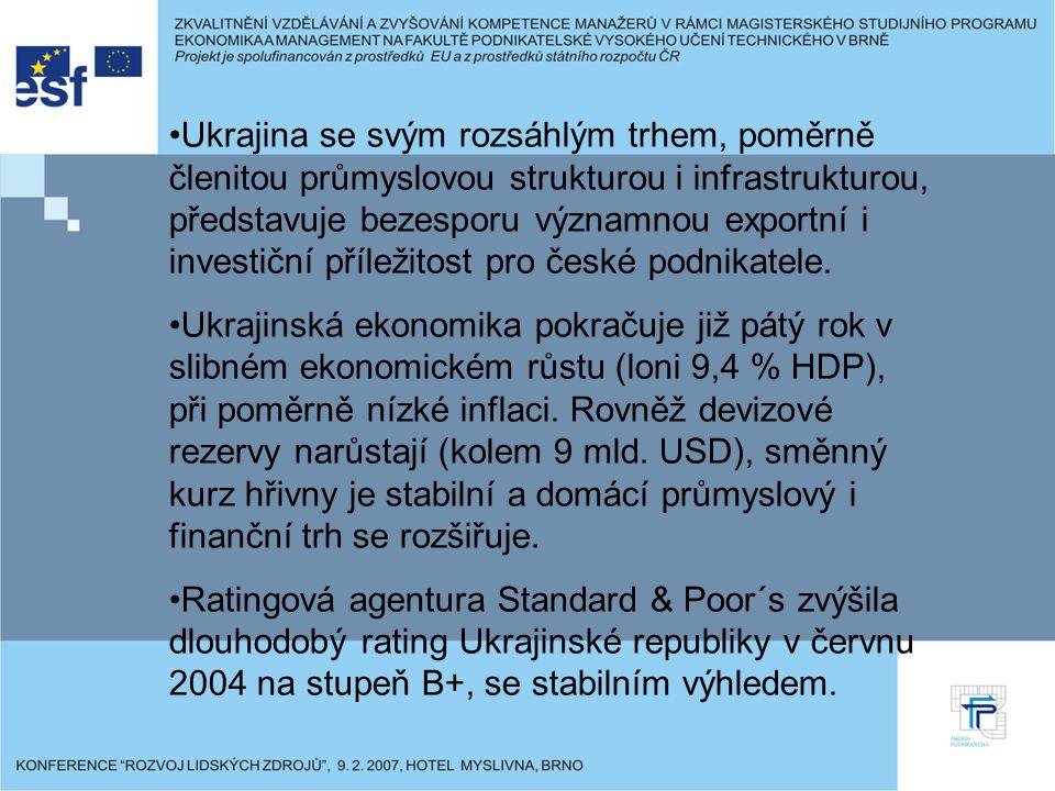 Ukrajina se svým rozsáhlým trhem, poměrně členitou průmyslovou strukturou i infrastrukturou, představuje bezesporu významnou exportní i investiční příležitost pro české podnikatele.