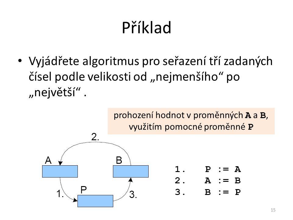 prohození hodnot v proměnných A a B, využitím pomocné proměnné P
