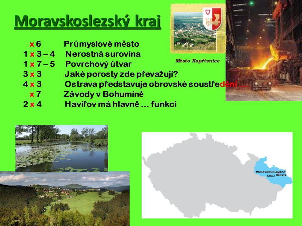 Moravskoslezský kraj x 6 Průmyslové město 1 x 3 – 4 Nerostná surovina