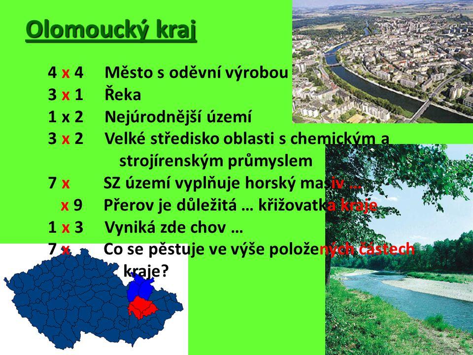 Olomoucký kraj 4 x 4 Město s oděvní výrobou 3 x 1 Řeka