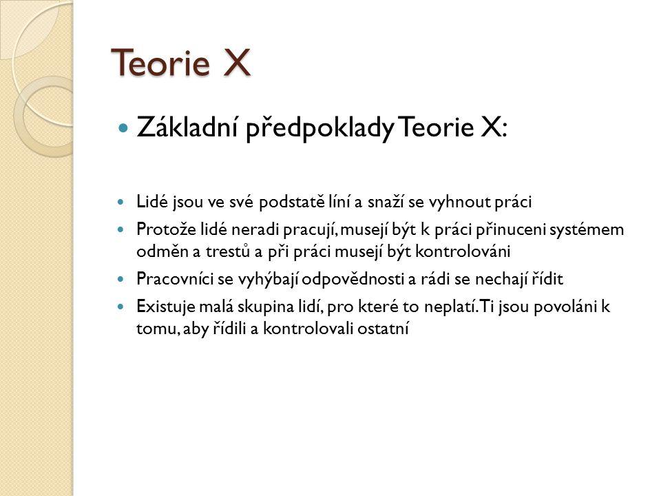 Teorie X Základní předpoklady Teorie X: