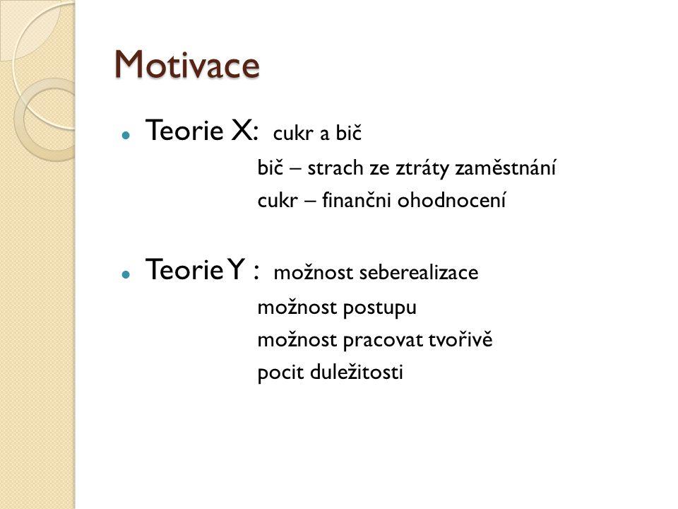 Motivace Teorie X: cukr a bič Teorie Y : možnost seberealizace