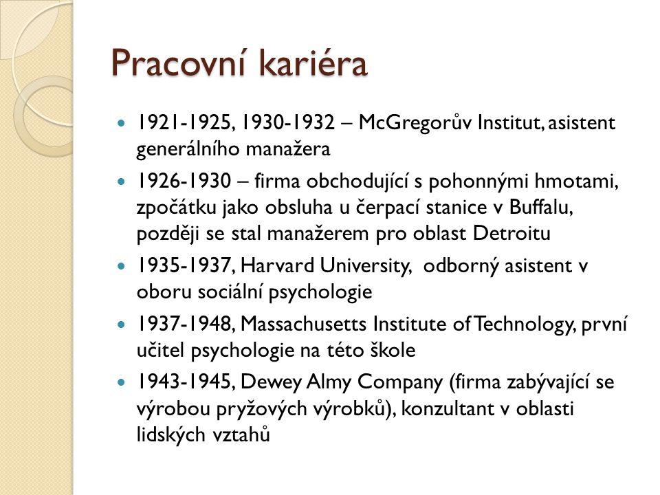 Pracovní kariéra 1921-1925, 1930-1932 – McGregorův Institut, asistent generálního manažera.