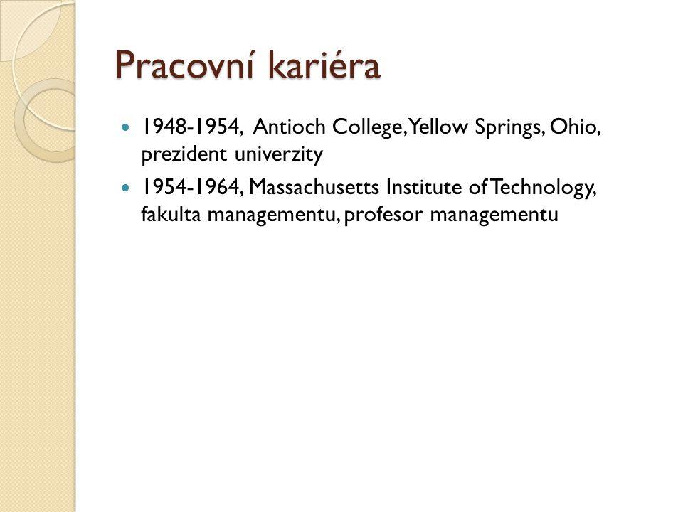 Pracovní kariéra 1948-1954, Antioch College, Yellow Springs, Ohio, prezident univerzity.