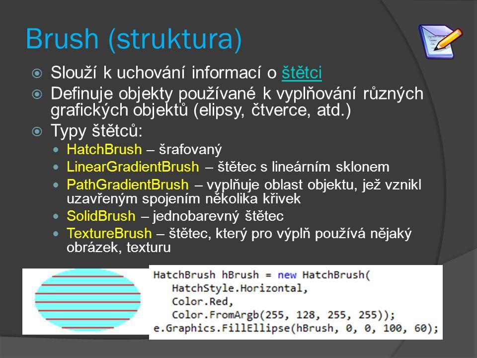 Brush (struktura) Slouží k uchování informací o štětci
