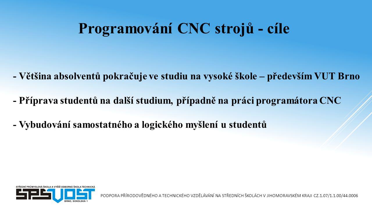 Programování CNC strojů - cíle