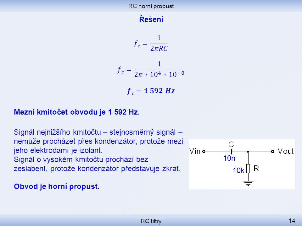 Mezní kmitočet obvodu je 1 592 Hz.