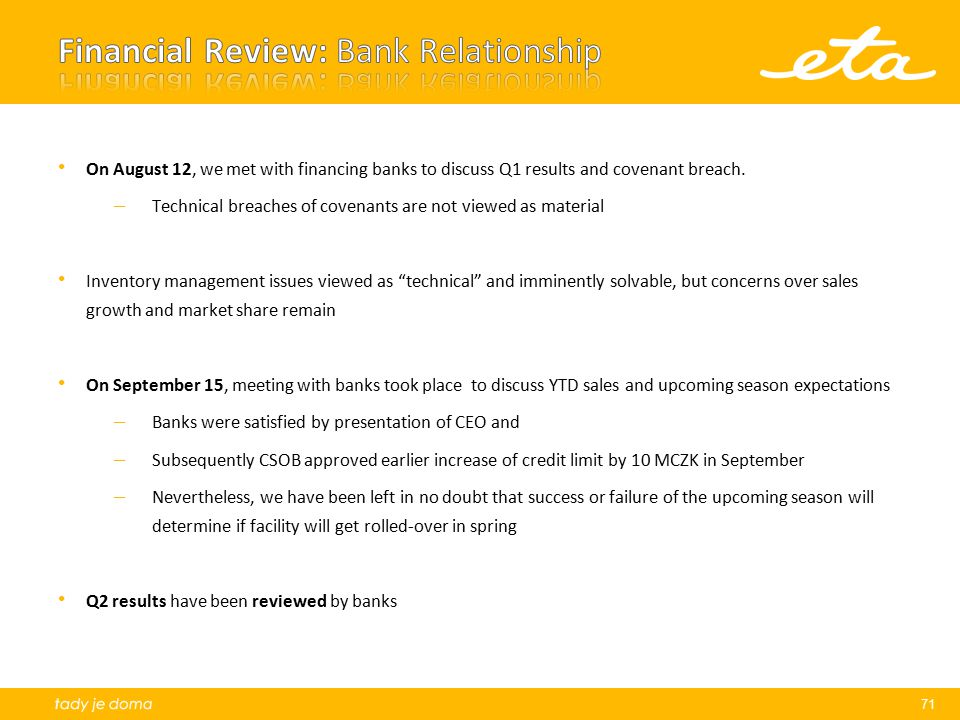 Financial Review: Bank Relationship