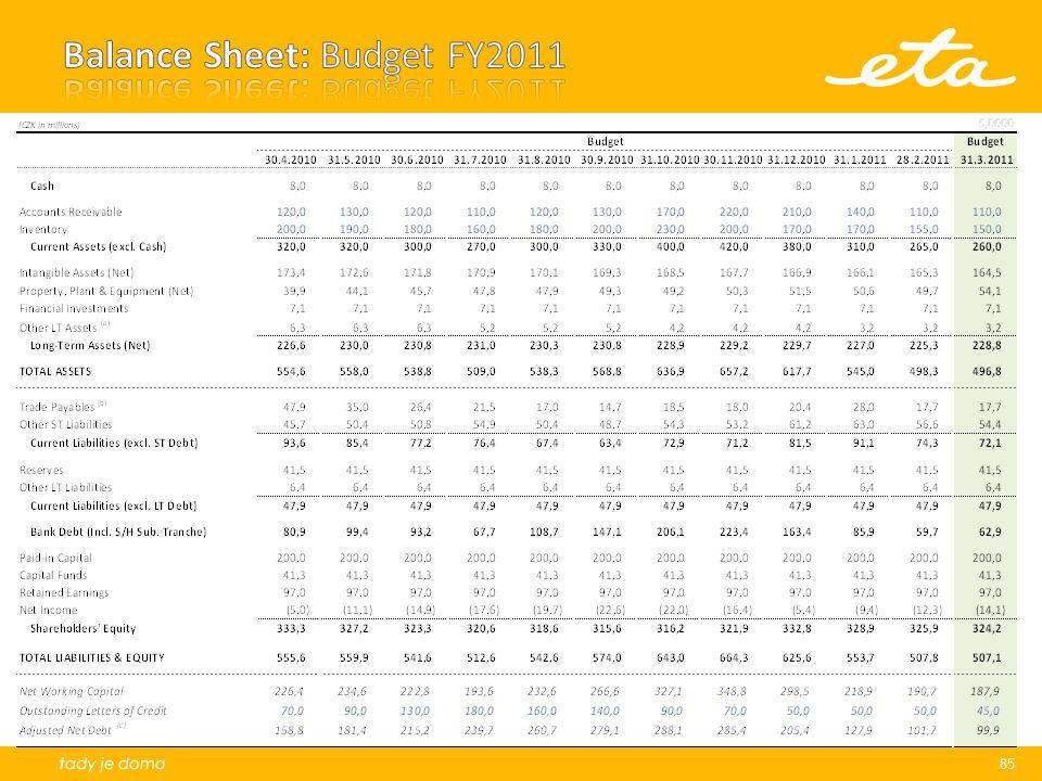 Balance Sheet: Budget FY2011