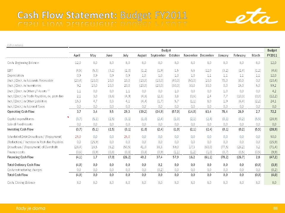 Cash Flow Statement: Budget FY2011