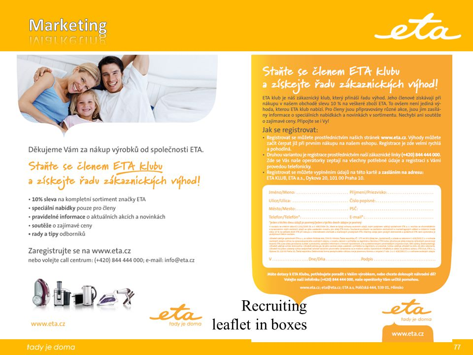Marketing Recruiting leaflet in boxes