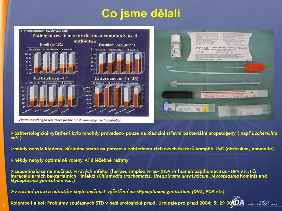 Co jsme dělali bakteriologické vyšetření bylo mnohdy provedeno pouze na klasické střevní bakteriální uropatogeny ( např Escherichia coli )
