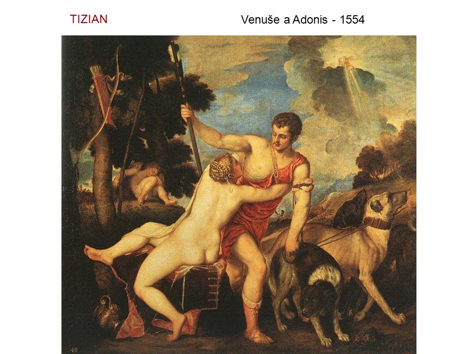 TIZIAN Venuše a Adonis - 1554