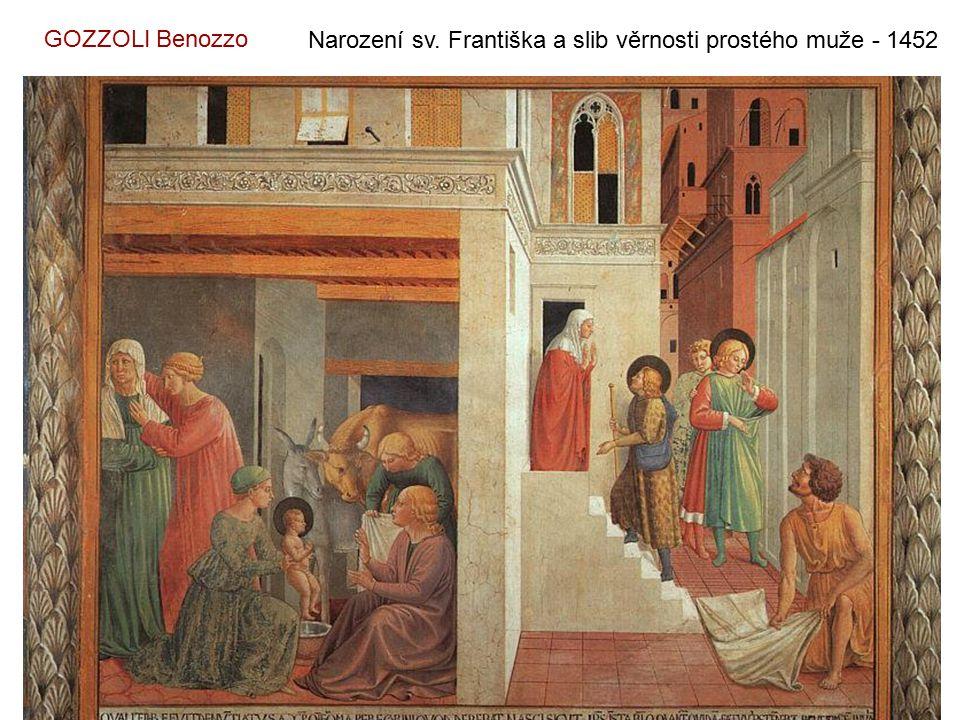 GOZZOLI Benozzo Narození sv. Františka a slib věrnosti prostého muže - 1452