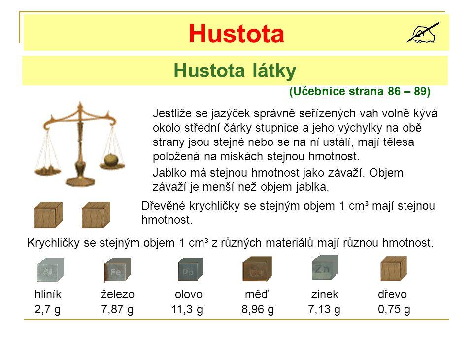 Hustota Hustota látky (Učebnice strana 86 – 89)