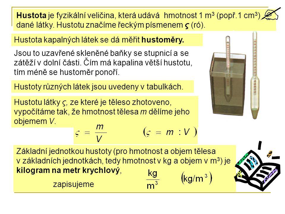 Hustota je fyzikální veličina, která udává hmotnost 1 m3 (popř